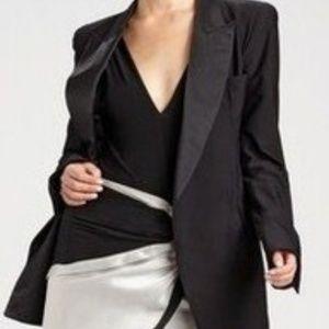 DONNA KARAN Black Open Tuxedo Jacket